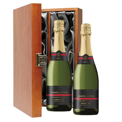 Chapel Down Brut NV English Sparkling Wine 75cl Twin Luxury Gift Boxed (2x75cl)