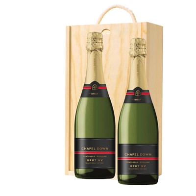 Chapel Down Brut NV English Sparkling Wine 75cl Twin Pine Wooden Gift Box (2x75cl)