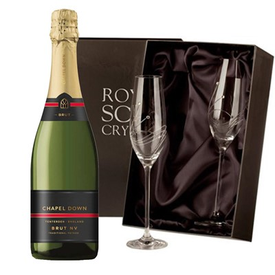 Chapel Down Brut NV English Sparkling Wine 75cl with 2 Royal Scot Edinburgh Flutes