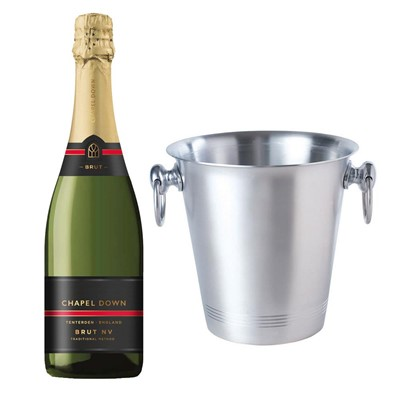 Chapel Down Brut NV English Sparkling Wine 75cl With Ice Bucket Set