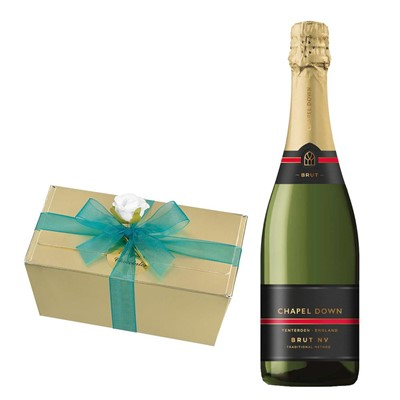 Chapel Down Brut NV English Sparkling Wine 75cl With Selection Of Milk, White And Dark Belgian Chocolates 460g