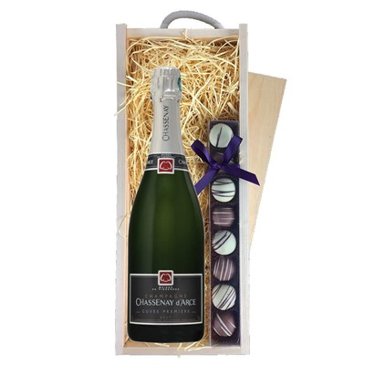 Chassenay d'Arce Cuvee Premiere Brut Champagne 75cl & Champagne Truffles, Wooden Box
