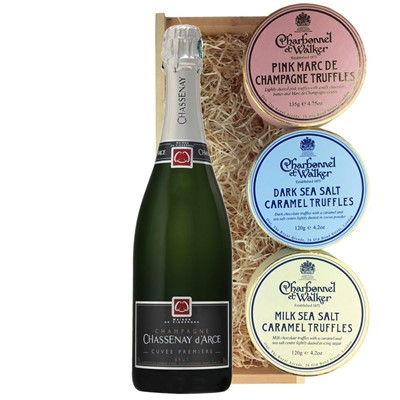 Chassenay d'Arce Cuvee Premiere Brut Champagne 75cl And Charbonnel Trio of Truffles Gift Box