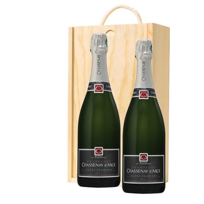 Chassenay d'Arce Cuvee Premiere Brut Champagne 75cl Twin Pine Wooden Gift Box (2x75cl)