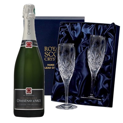 Chassenay d'Arce Cuvee Premiere Brut Champagne 75cl with 2 Royal Scot Edinburgh Flutes