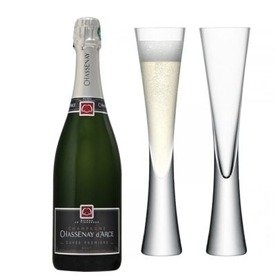 Chassenay d'Arce Cuvee Premiere Brut Champagne 75cl with LSA Flutes