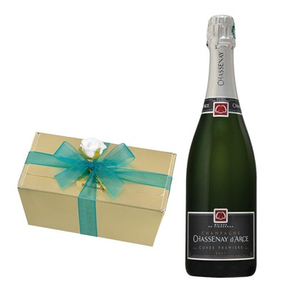 Chassenay d'Arce Cuvee Premiere Brut Champagne 75cl With Selection Of Milk, White And Dark Belgian Chocolates 460g