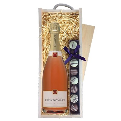 Chassenay d'Arce Rose Champagne 75cl & Champagne Truffles, Wooden Box