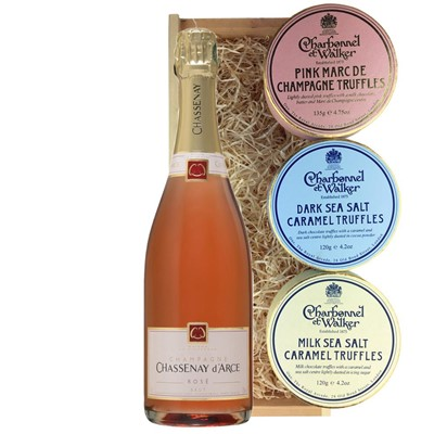 Chassenay d'Arce Rose Champagne 75cl And Charbonnel Trio of Truffles Gift Box
