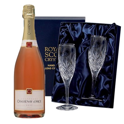 Chassenay d'Arce Rose Champagne 75cl with 2 Royal Scot Edinburgh Flutes