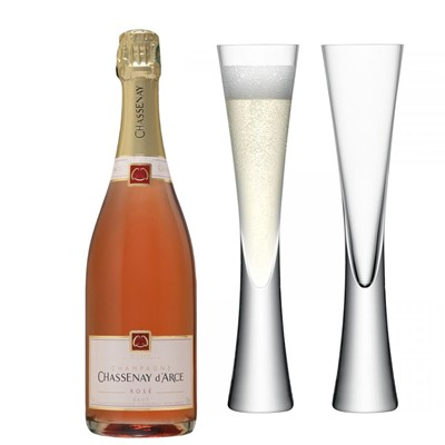 Chassenay d'Arce Rose Champagne 75cl with LSA Flutes