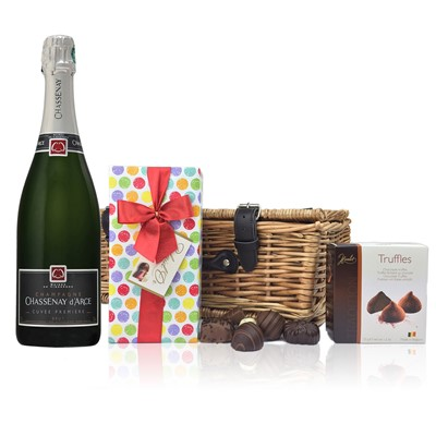 Chassenay d'Arce Brut and Chocolates Hamper  A delightful gift of Chassenay d'Arce Cuvee Premiere Brut 75cl along with a box of Mini Duc d'O Belgin Chocolates (50g) and Belgid'Or Fine Belgin Choclates (175g) all packed in a wicker hamper with leather straps, lined with wood wool.  . Price includes free UK Mainland Delivery, and Exports and international delivery available.