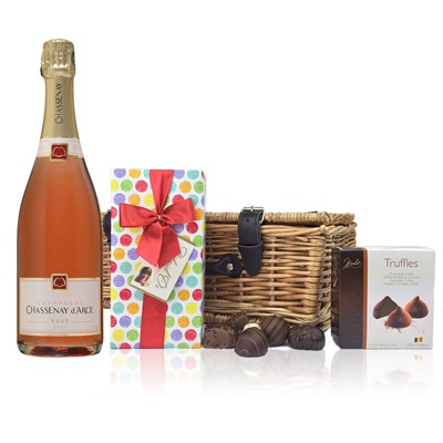 Chassenay d'Arce Rose and Chocolates Hamper  A delightful gift of Chassenay d'Arce Rose 75cl Brut along with a box of Mini Duc d'O Belgin Chocolates (50g) and Belgid'Or Fine Belgin Choclates (175g) all packed in a wicker hamper with leather straps, lined with wood wool.  . Price includes free UK Mainland Delivery, and Exports and international delivery available.