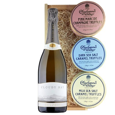 Cloudy Bay Pelorus Sparkling Wine 75cl And Charbonnel Trio of Truffles Gift Box
