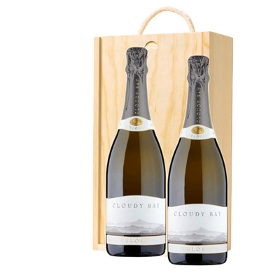 Cloudy Bay Pelorus Sparkling Wine 75cl Twin Pine Wooden Gift Box (2x75cl)