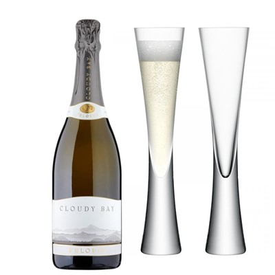 Cloudy Bay Pelorus Sparkling Wine 75cl with LSA Flutes