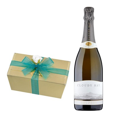 Cloudy Bay Pelorus Sparkling Wine 75cl With Selection Of Milk, White And Dark Belgian Chocolates 460g