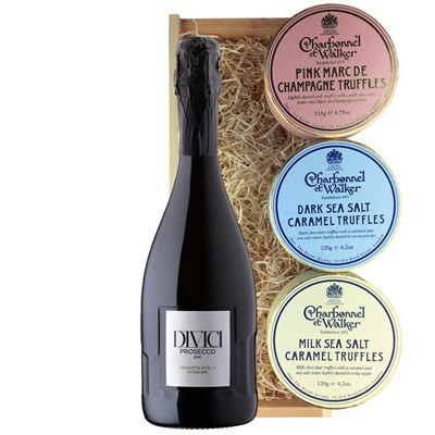 Divici Prosecco DOC 75cl And Charbonnel Trio of Truffles Gift Box