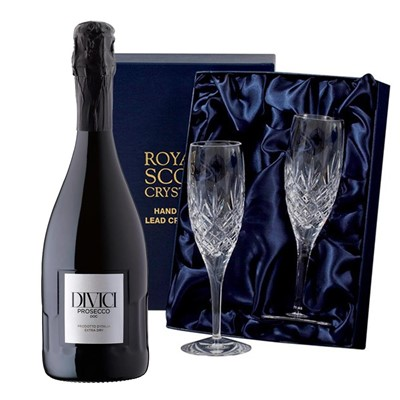 Divici Prosecco DOC 75cl with 2 Royal Scot Edinburgh Flutes