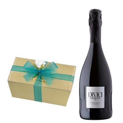 Divici Prosecco DOC 75cl With Selection Of Milk, White And Dark Belgian Chocolates 460g