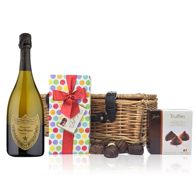 A delightful gift of Dom Perignon along with a box of Mini Duc d'O Belgin Chocolates 50g and Belgid'Or Fine Belgin Choclates 175g all packed in a wicker hamper with leather straps lined with wood wool. Price includes free UK Mainland Delivery, and Exports and international delivery available.