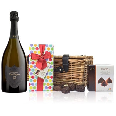 Dom Perignon 2000 Plenitude P2 Vintage Champagne 75cl And Chocolates Hamper