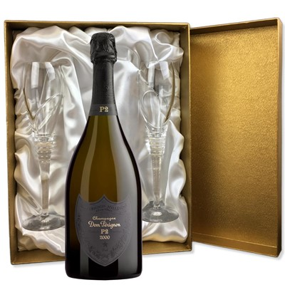 Dom Perignon 2002 Plenitude P2 Vintage Champagne 75cl in Gold Presentation Set With Flutes