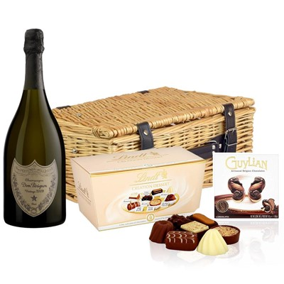 Dom Perignon Brut 2008 Vintage Champagne 75cl And Chocolates Hamper