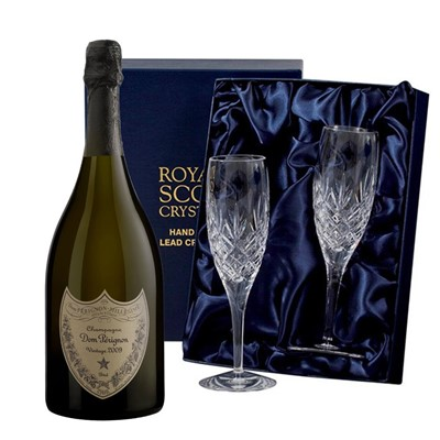 Dom Perignon Brut 2008 Vintage Champagne 75cl with 2 Royal Scot Edinburgh Flutes