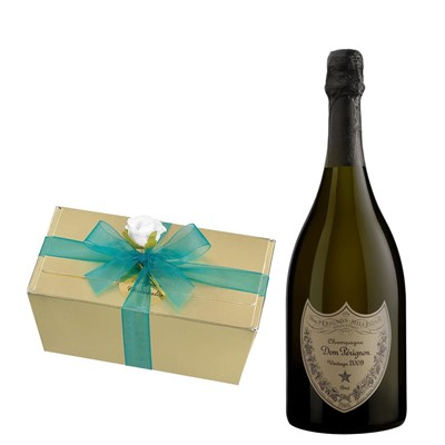 Dom Perignon Brut 2008 Vintage Champagne 75cl With Selection Of Milk, White And Dark Belgian Chocolates 460g