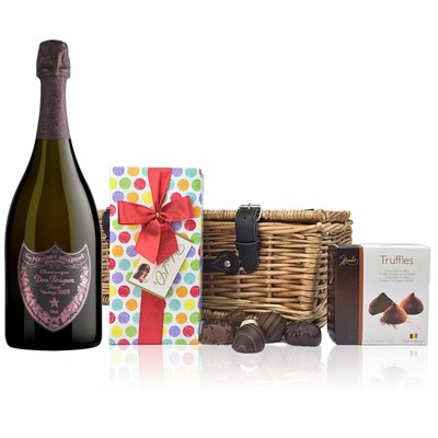 Dom Perignon Rose 2005 Champagne 75cl And Chocolates Hamper