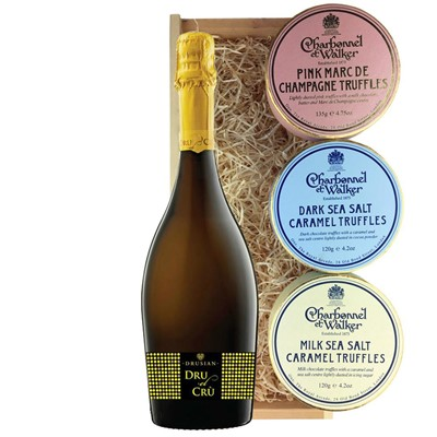 Drusian Spumante Dru el Cru Prosecco 75cl And Charbonnel Trio of Truffles Gift Box
