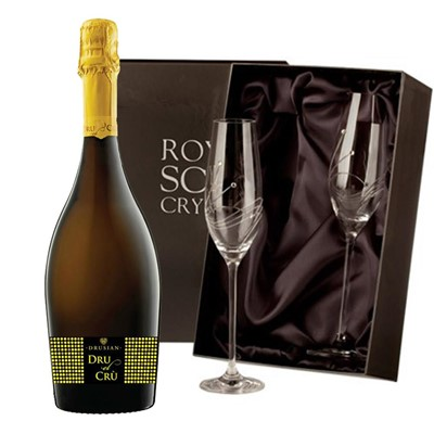 Drusian Spumante Dru el Cru Prosecco 75cl with 2 Royal Scot Edinburgh Flutes
