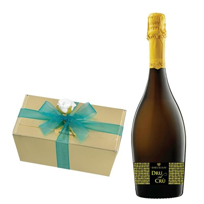 Drusian Spumante Dru el Cru Prosecco 75cl With Selection Of Milk, White And Dark Belgian Chocolates 460g