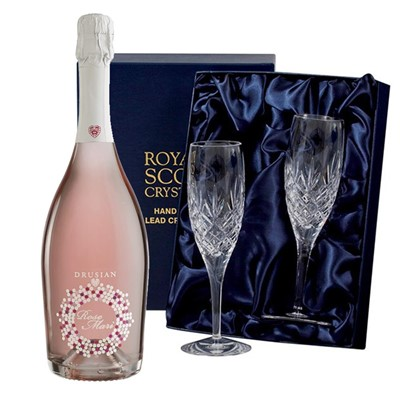 Drusian Spumante Rose Mari 75cl with 2 Royal Scot Edinburgh Flutes
