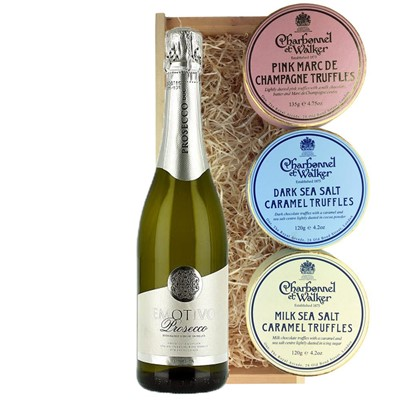 Emotivo Prosecco 75cl And Charbonnel Trio of Truffles Gift Box