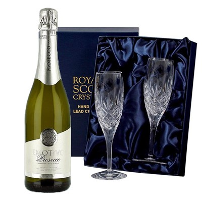 Emotivo Prosecco 75cl with 2 Royal Scot Edinburgh Flutes