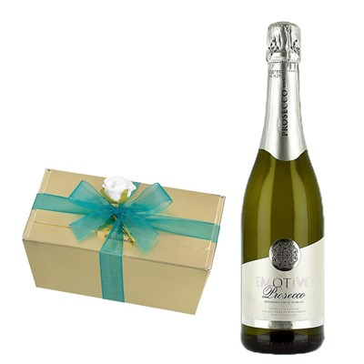 Emotivo Prosecco 75cl With Selection Of Milk, White And Dark Belgian Chocolates 460g