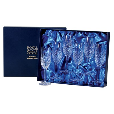 6 Royal Scot Crystal Champagne Flutes - London - PRESENTATION BOXED - A set of6 x beautiful hand cut lead crystal Royal Scot Champagne Flutes, London design in a high quality blue leatherette box with blue satin linings.