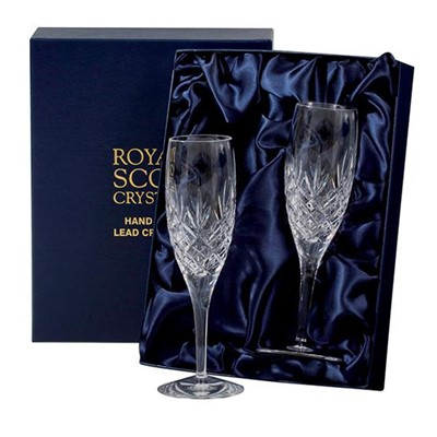 2 Royal Scot Presentation Boxed Edinburgh Champagne Flutes - A classical hand cut wine suite inspired by the great tradition of the City of Edinburgh. A City which has created a legend out of glass for over four centuries. This Royal Scot Crystal Edinburgh Flute Champagne makes an ideal gift for yourself or someone else who enjoys a glass of Champagne, Rose, white or sparkling wine.