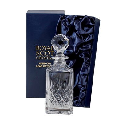 A classical hand cut wine suite inspired by the great tradition of the City of Edinburgh. A City which has created a legend out of glass for over four centuries. Supplied in luxury midnight blue presentation boxes. This Royal Scot Crystal Edinburgh Square spirit Decanter is an ideal gift for the connoisseur of fine whisky.