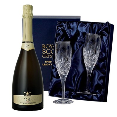 Gancia Metodo Classico Cuvee 24 Mesi Asti 75cl with 2 Royal Scot Edinburgh Flutes