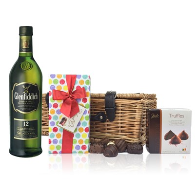 Glenfiddich 12 Year Old Whisky and Chocolates Hamper A delightful gift of Glenfiddich 12 Year Old Speyside Single Malt Scotch Whisky along with a box of Mini Duc d'O Belgin Chocolates 50g and Belgid'Or Fine Belgin Choclates 175 gall packed in a wicker hamper with leather straps lined with wood wool. All gifts come with a gift card with message of your choice.  . Price includes free UK Mainland Delivery, and Exports and international delivery available.