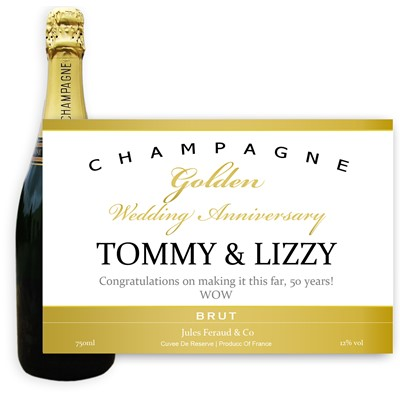 Personalised Champagne - Golden Anniversary Label - A bottle of Champagne, Jules Feraud, Brut Cuvee personalised as a gift that is a perfect for celebrating with style! Create your very own Personalised Bottle of Champagne with your own message on the bottle, which is printed in full colour. Jules Feraud is a rich Champagne with savoury aromas. This deep, golden Champagne is powerful but elegant; strong bodied and dry yet still balanced. A fresh, fun and lively champagne for any occasion...and deliciously easy to drink! (Please Keep the Message to Maximum of 25 words, Gift Message will be used as message on the label)