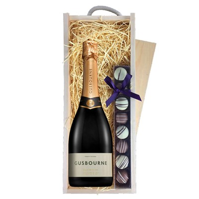 Gusbourne 2014 Brut Reserve English Sparkling Wine 75cl & Champagne Truffles, Wooden Box
