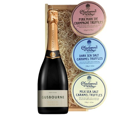 Gusbourne 2014 Brut Reserve English Sparkling Wine 75cl And Charbonnel Trio of Truffles Gift Box