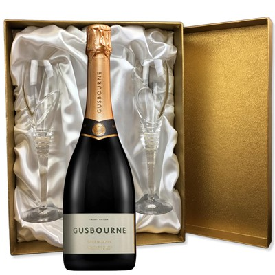 Gusbourne 2014 Brut Reserve English Sparkling Wine 75cl in Gold Presentation Set With Flutes