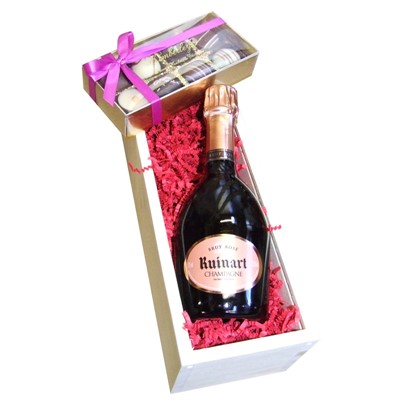 Half Bottle Ruinart Rose 37.5cl with Truffles 100g Presented in a Wooden Box Lined with wood wool comes with a Gift Card for your personal message. . Price includes free UK Mainland Delivery, and Exports and international delivery available.