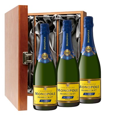 Heidsieck & Co. Monopole Blue Top Brut Champagne 75cl Three Bottle Luxury Gift Box