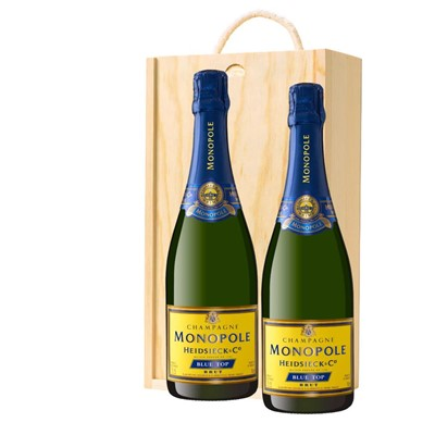 Heidsieck & Co. Monopole Blue Top Brut Champagne 75cl Twin Pine Wooden Gift Box (2x75cl)
